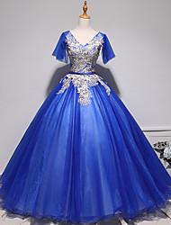 cheap -Ball Gown Luxurious Floral Quinceanera Prom Dress V Neck Short Sleeve Floor Length Tulle with Pleats Embroidery 2021
