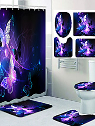 cheap -Luminous Beautiful Butterfly Pattern Printing Bathroom Shower Curtain Leisure Toilet Four-piece Set