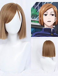 cheap -Cosplay Cosplay Cosplay Wigs Women's Neat Bang 40 inch Heat Resistant Fiber Natural Straight Light Brown Adults' Anime Wig