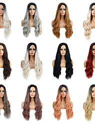 cheap -Synthetic Wig Deep Wave Layered Haircut Wig Medium Length Light Blonde Light Brown Dark Brown Creamy-white Wine Red Synthetic Hair Women's Cosplay Party Fashion Blonde Brown