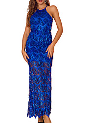cheap -Women's A Line Dress Maxi long Dress Black Blue Red Blushing Pink Sleeveless Solid Color Backless Sequins Summer Round Neck Elegant Sexy 2021 S M L XL