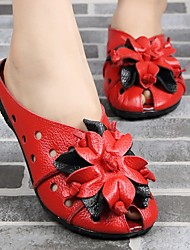 cheap -Women's Sandals Round Toe Leather Floral Black Red Green
