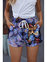 cheap -Women's Stylish Novelty Comfort Shorts Holiday Weekend Pants Flower / Floral 3D Animal Short Sporty Elastic Waist Print Blue