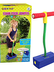 cheap -Foam Pogo Jumper for Kids Fun, Safe Pogo Stick, Durable Foam and Bungee Jumper for Ages 3 and up Toddler Toys, Makes Squeaky Sounds with Flashes LED Lights  (Blue)