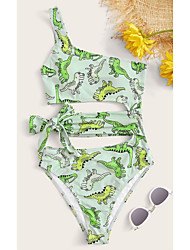 cheap -Women's One Piece Monokini Swimsuit Push Up Print Solid Color Animal image Swimwear Padded Crop Top Bathing Suits New Casual Sexy / Padded Bras