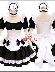 cheap -Lolita Cute Dress Women's Japanese Cosplay Costumes Black Solid Colored Short Sleeve Above Knee / Apron
