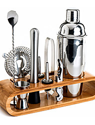 cheap -10-Piece Shaker Set Bar Tool Set with Stylish Bamboo Stand Bartender Kit Barware Sets Martini Cocktail Shaker Set Stainless Steel