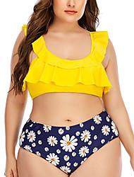 cheap -Women's Bikini 2 Piece Swimsuit Open Back Slim Color Block Geometric Blue Yellow Plus Size Swimwear Padded Strap Bathing Suits New Fashion Sexy / Padded Bras