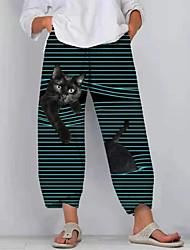 cheap -Women's Plus Size Pocket Print Cat Graphic Ankle-Length Sweatpants White