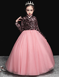 cheap -Princess / Ball Gown Stand Collar Floor Length Tulle / Sequined Junior Bridesmaid Dress with Pleats / Beading