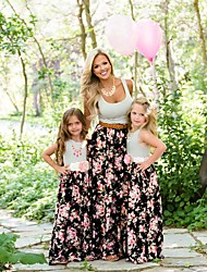 cheap -Mommy and Me Dress Graphic Print Black Sleeveless Maxi Matching Outfits