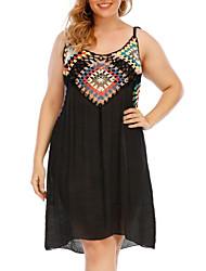 cheap -Women's Plus Size Dress Sundress Knee Length Dress Sleeveless Geometric Geometry Backless Patchwork Sexy Fall Summer Black One Size / vacation dresses