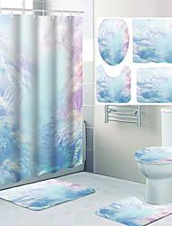 cheap -Aesthetic Comic Pattern Printing Bathroom Shower Curtain Leisure Toilet Four-piece Design