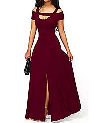 cheap -Sheath / Column Empire Minimalist Wedding Guest Formal Evening Dress Scoop Neck Sleeveless Floor Length Stretch Fabric with Split 2021