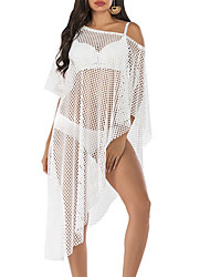 cheap -Women's Cover-Up Swimsuit Solid Colored Normal Swimwear Bathing Suits White
