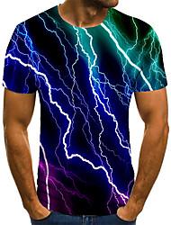 cheap -Men's T shirt 3D Print Geometric 3D Print Print Short Sleeve Casual Tops Casual Fashion Green / Red
