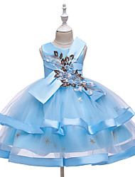 cheap -Ball Gown Knee Length Wedding / Event / Party Flower Girl Dresses - Tulle / Polyester Sleeveless Jewel Neck with Tier / Ruching / Bandage