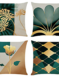 cheap -Cushion Cover 4PCS Linen Soft Geometric Simple Classic Square Throw Pillow Cover Cushion Case Pillowcase for Sofa Bedroom Superior Quality Machine Washable
