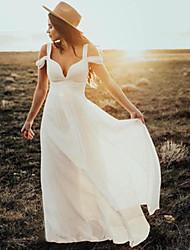 cheap -Sheath / Column Wedding Dresses V Neck Floor Length Chiffon Short Sleeve Country Simple Beach with Pleats 2021