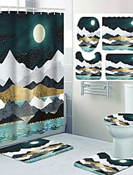 cheap -Comic Mountains Rivers Starry Sky and Moon Pattern Printing Bathroom Shower Curtain Leisure Toilet Four-piece Design