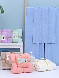 cheap -Bathroom Soft Absorbent Bath Towel & Hand Towel Comfortable Coral Fleece Solid Colored Daily Home Bath Towels 2 pcs in 1 Set 70*140 & 35*75cm