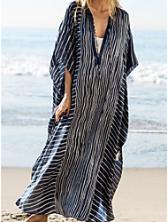 cheap -Women's Swimsuit Cover Up Beach Top Swimsuit Chiffon Slim Abstract Photo Color Swimwear T shirt Dress Tunic V Wire Bathing Suits New Fashion Sexy