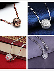 cheap -Women's Pendant Necklace Charm Necklace Classic Flower Ball Fashion Zircon Copper Silver Plated 45 cm Necklace Jewelry 1pc For Christmas Wedding Party Evening Street Formal / Gold Plated