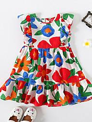 cheap -Kids Little Girls' Dress Sun Flower Red Floral School Festival Ruffle Print Red Knee-length Sleeveless Princess Dresses Children's Day Summer Regular Fit 3-10 Years