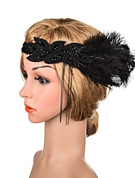 cheap -Elegant Beaded & Sequin Flax Fascinators with Feather / Glitter 1 Piece Special Occasion / Party / Evening Headpiece
