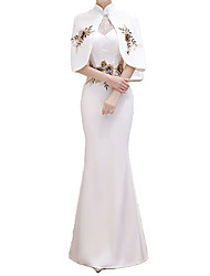 cheap -Mermaid / Trumpet Elegant Floral Engagement Formal Evening Dress Stand Collar Half Sleeve Floor Length Stretch Fabric with Lace Insert Embroidery 2021