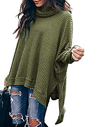 cheap -oversized pullover sweater women turtlenck batwing sleeve high low hem side slit sweaters waffle knit casual loose tunic tops army green