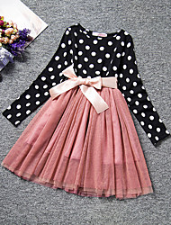 cheap -Kids Little Girls' Dress Polka Dot Tulle Dress Causal Mesh White Black Knee-length Long Sleeve Fashion Sweet Dresses Regular Fit