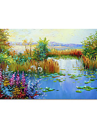 cheap -Oil Painting Hand Painted Horizontal Landscape Modern Rolled Canvas (No Frame)