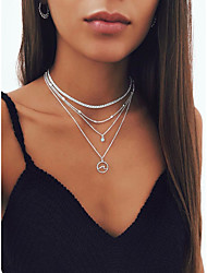 cheap -Women's Necklace Layered Necklace Stacking Stackable Wave Simple Fashion European Imitation Diamond Alloy Silver 35 cm Necklace Jewelry 1pc For Street Masquerade Beach