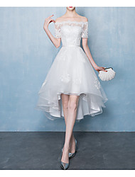 cheap -A-Line Scalloped Neckline Tea Length Lace / Tulle Bridesmaid Dress with Appliques