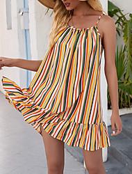 cheap -Women's Strap Dress Short Mini Dress Yellow Rose Red Sleeveless Striped Print Summer Square Neck Elegant 2021 S M L XL