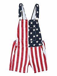 cheap -couple american flag overalls denim bib shorts adjustable strap jean shorts rompers short jumpsuit with two pockets