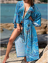 cheap -Women's Swimsuit Cover Up Beach Top Swimsuit Slim Print Abstract Purple feather print Light blue feather print Swimwear T shirt Dress Tunic V Wire Bathing Suits New Fashion Sexy