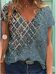 cheap -Women's T shirt Geometric Round Neck Tops Punk & Gothic Basic Top Blue