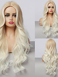 cheap -Synthetic Wig Deep Wave Middle Part Wig Medium Length sepia Synthetic Hair Women's Cosplay Party Fashion Brown