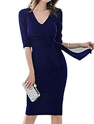 cheap -women's elegant 3/4 sleeve v neck sheath backless dresses casual ruched party business formal work pencil dress with belt(dark blue-m)