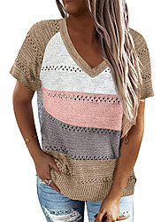 cheap -2021 cross-border amazon summer women's new european and american striped color-blocking pullover sweater v-neck short-sleeved top