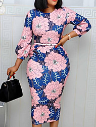 cheap -Women's Plus Size Floral Print Casual Long Sleeve Spring &  Fall Knee Length Dress Sheath Dress Blue