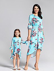 cheap -Mommy and Me Family Matching Outfits Dress Graphic Half Sleeve Print Blue Maxi Summer