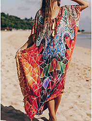 cheap -Women's Swimsuit Cover Up Beach Top Swimsuit Slim Print Tribal Abstract Orange Swimwear T shirt Dress Tunic V Wire Bathing Suits New Fashion Sexy