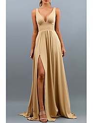 cheap -A-Line V Neck Sweep / Brush Train Spandex Bridesmaid Dress with Split Front