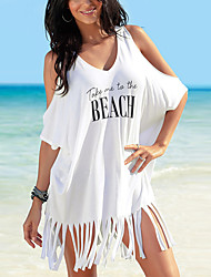 cheap -Women's Cover Up Swimsuit Letter White Black Swimwear Bathing Suits