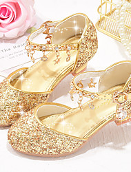 cheap -Girls' Princess Shoes Flower Girl Heels Shoes School Shoes Rhinestone Sparkling Glitter Buckle Rubber PU Little Kids(4-7ys) Big Kids(7years +) Daily Party & Evening Walking Shoes Pink Gold Silver