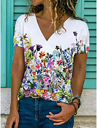 cheap -Women's Floral Theme T shirt Floral Flower Print V Neck Tops Basic Basic Top White Black Blue