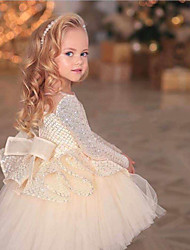 cheap -Princess / Ball Gown Asymmetrical Wedding / Party Flower Girl Dresses - Tulle / Sequined Long Sleeve Jewel Neck with Bow(s) / Appliques / Paillette